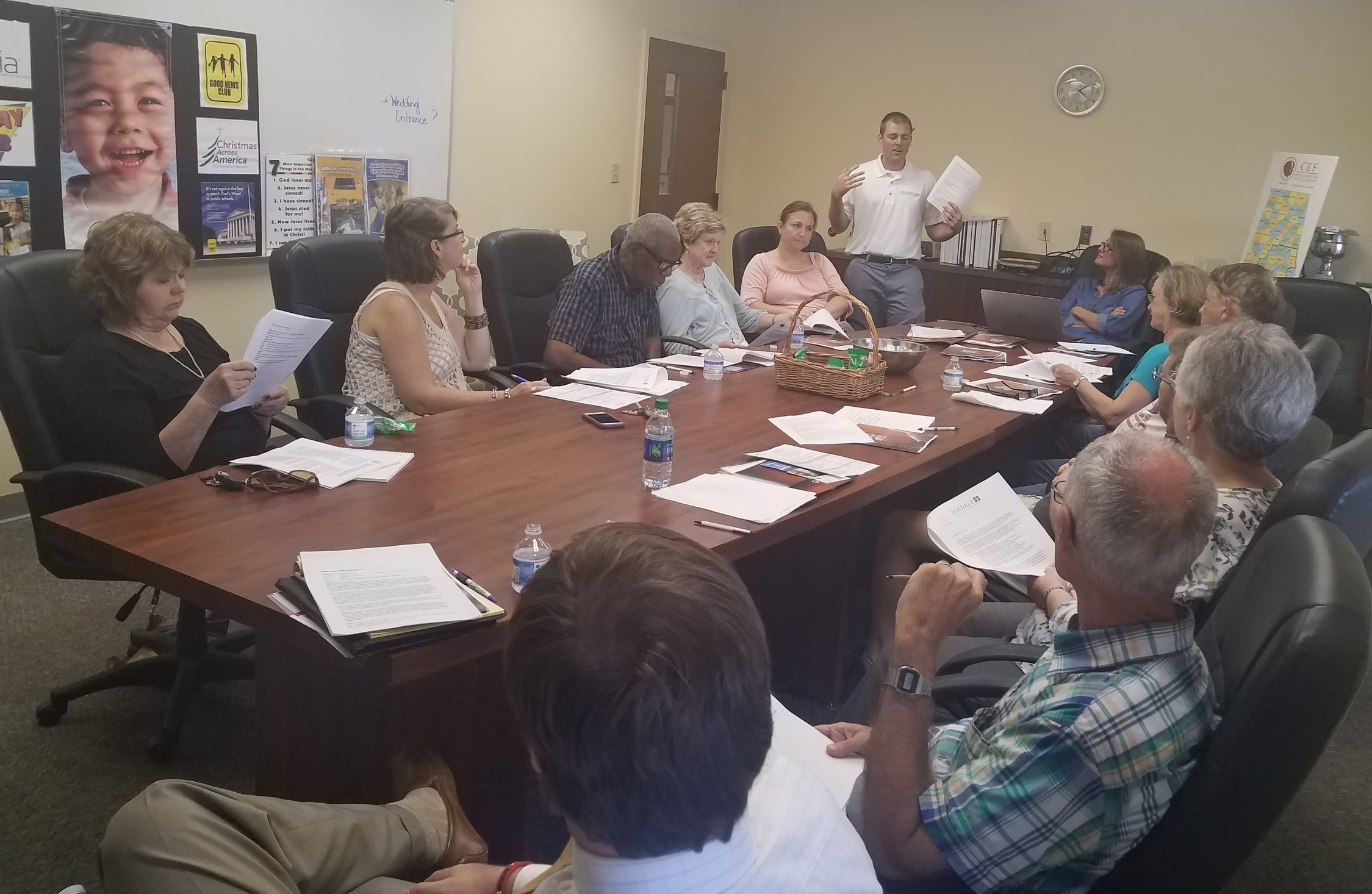 Jonathon Brown, of Elkdale Baptist Church in Selma, Alabama holds invited church leaders and members from the area to discuss starting new  Good News Club®  ministry in partnership with  CEF®  of Central Alabama.