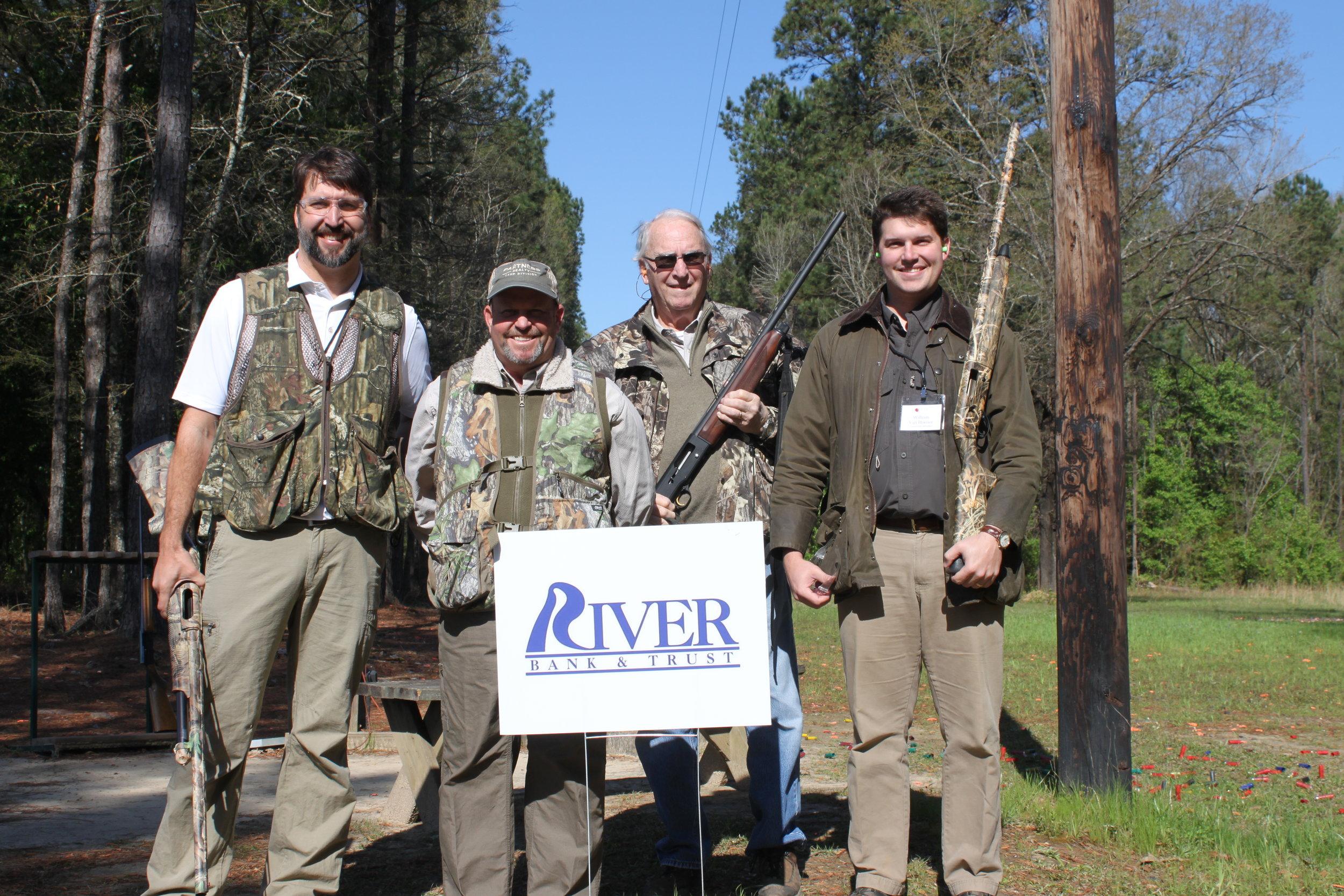 River Bank and Trust shooting team: Chris Carver, Chuck Douglass, Chuck Carver, and William Van Hooser (Starke Agency).