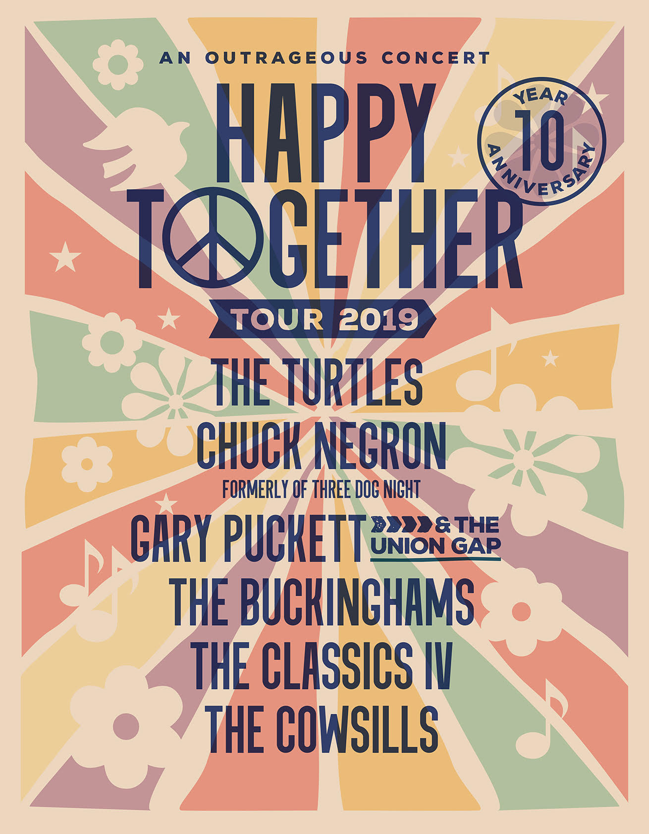 JUNE 21, 2019 - HAPPY TOGETHER RETURNS TO THE PARAMOUNT THEATRE IN ASBURY PARK!A BENEFIT CONCERT FOR THE LIGHT OF DAY FOUNDATIONON SALE NOW!! The Greatest Pop Rock Hits of the 60's-70's!The audience will go home whistling the soundtrack their lives!THE TURTLESCHUCK NEGRON (Former lead vocalist of Three Dog Night)GARY PUCKETT AND THE UNION GAPTHE BUCKINGHAMSTHE CLASSICS IVTHE COWSILLSDoors: 7pm - Show: 8pmProduced by UMTPresents, Sammy Boyd Productions and Madison Marquette for the LODF, a 501 C3 Non-profit Org.
