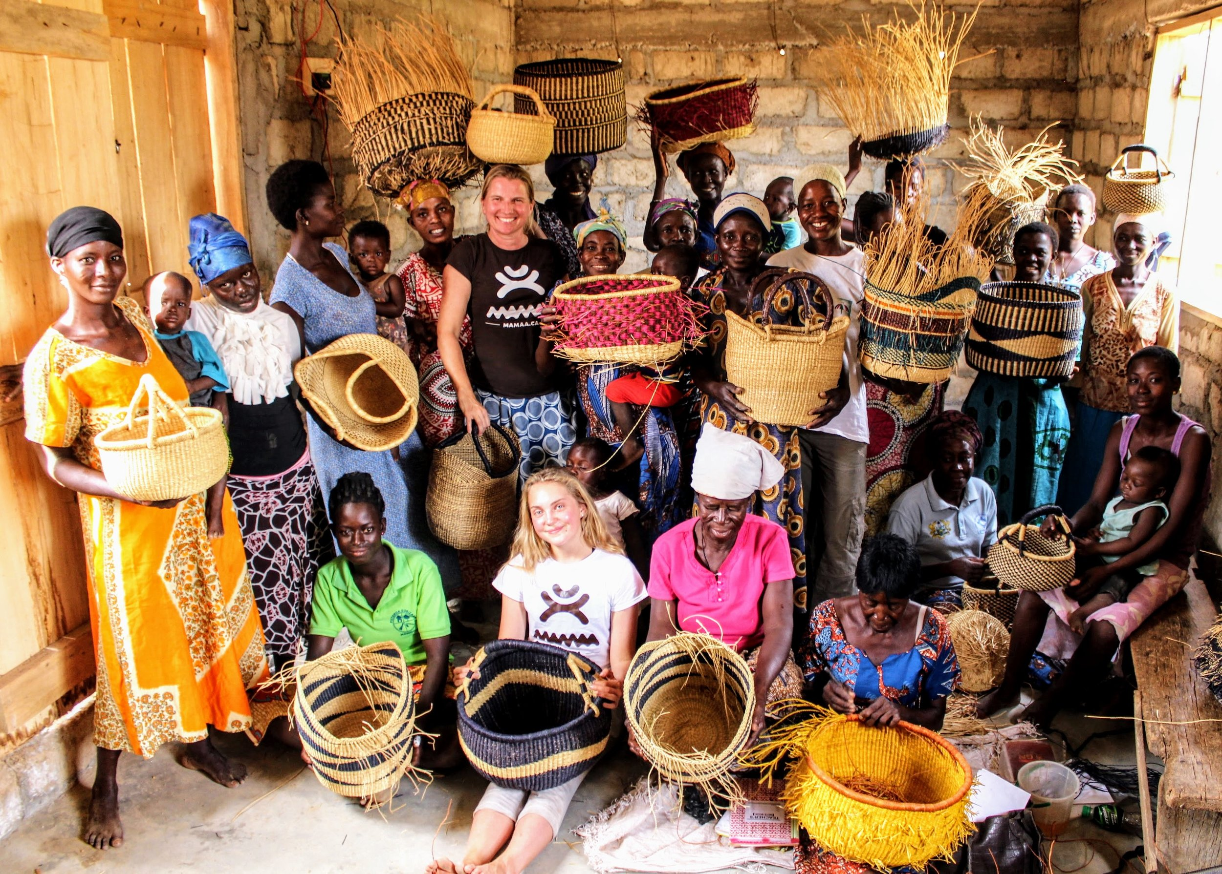 Meeting with basket women. Five years ago there were only a handful of women weaving under a tree. Now there are over 60 skilled women and the number is growing. The women also have their own centre for weaving. :-)