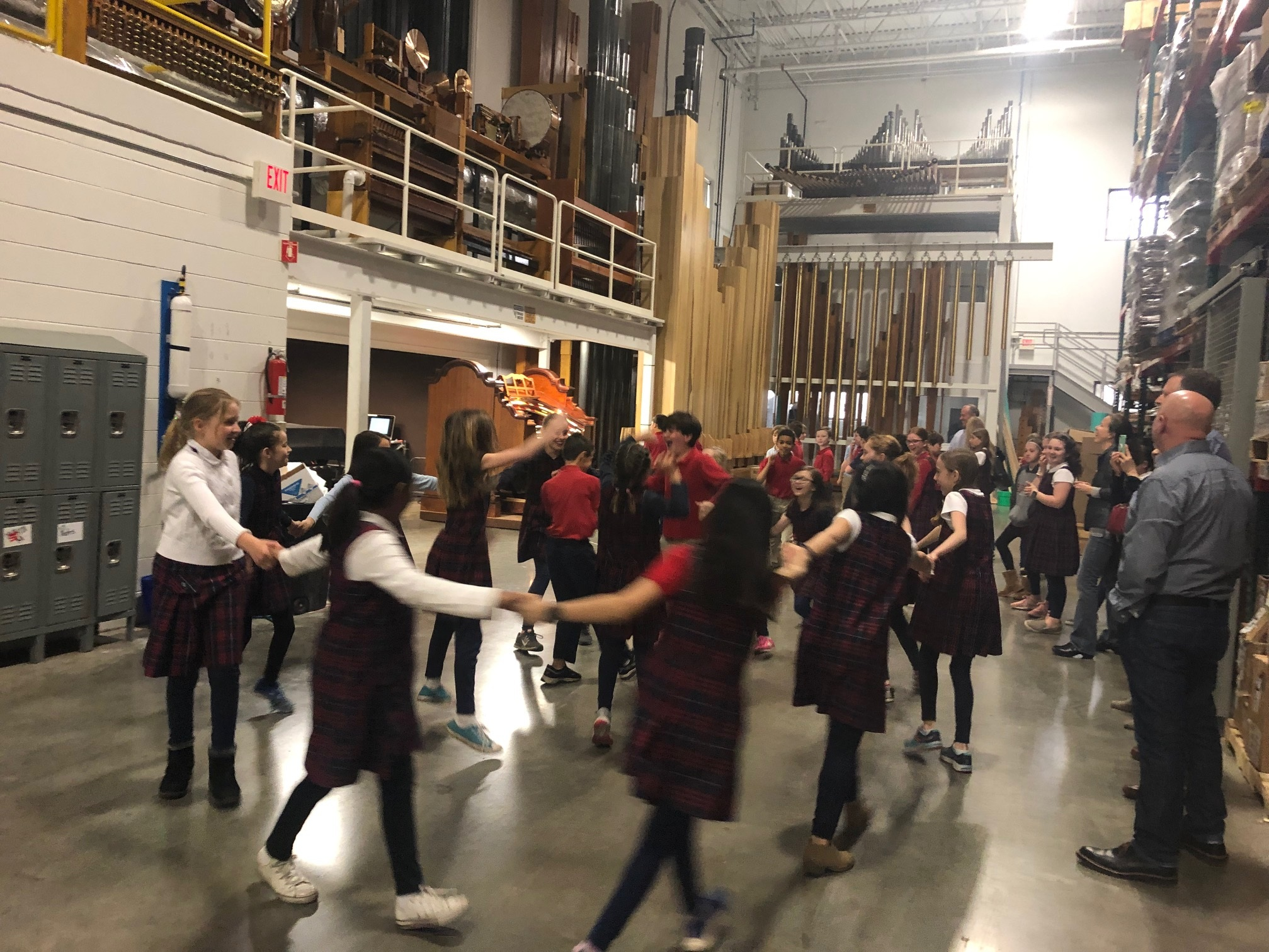 Dancing to the organ music in the warehouse! -