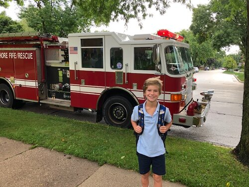 Cal had a special ride to school today!!