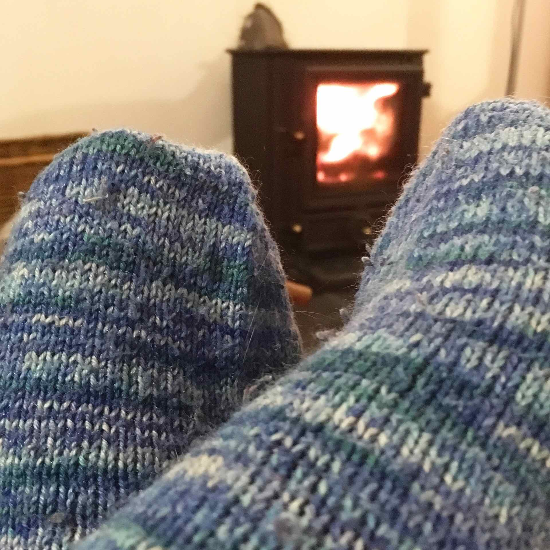Wooly socks by the fire