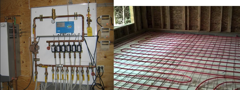Radiant Floor Heating System  Typically Hot Water flows through the floors and heat rises to warm the home. It feels wonderful on the feet. It's also very common for electrical radiant heat coils to be installed in bathrooms. Radiant Heat systems qualify for all types of financing.