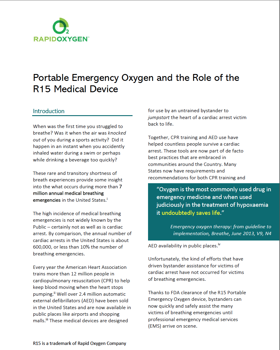 Read the White Paper about Portable Emergency Oxygen and the Role of the R15 Medical Device -