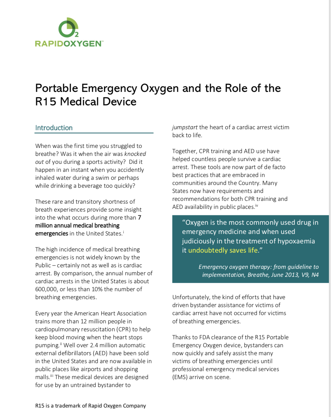 CLICK HERE:Portable Emergency Oxygen and the Role of the R15™ Medical Device -