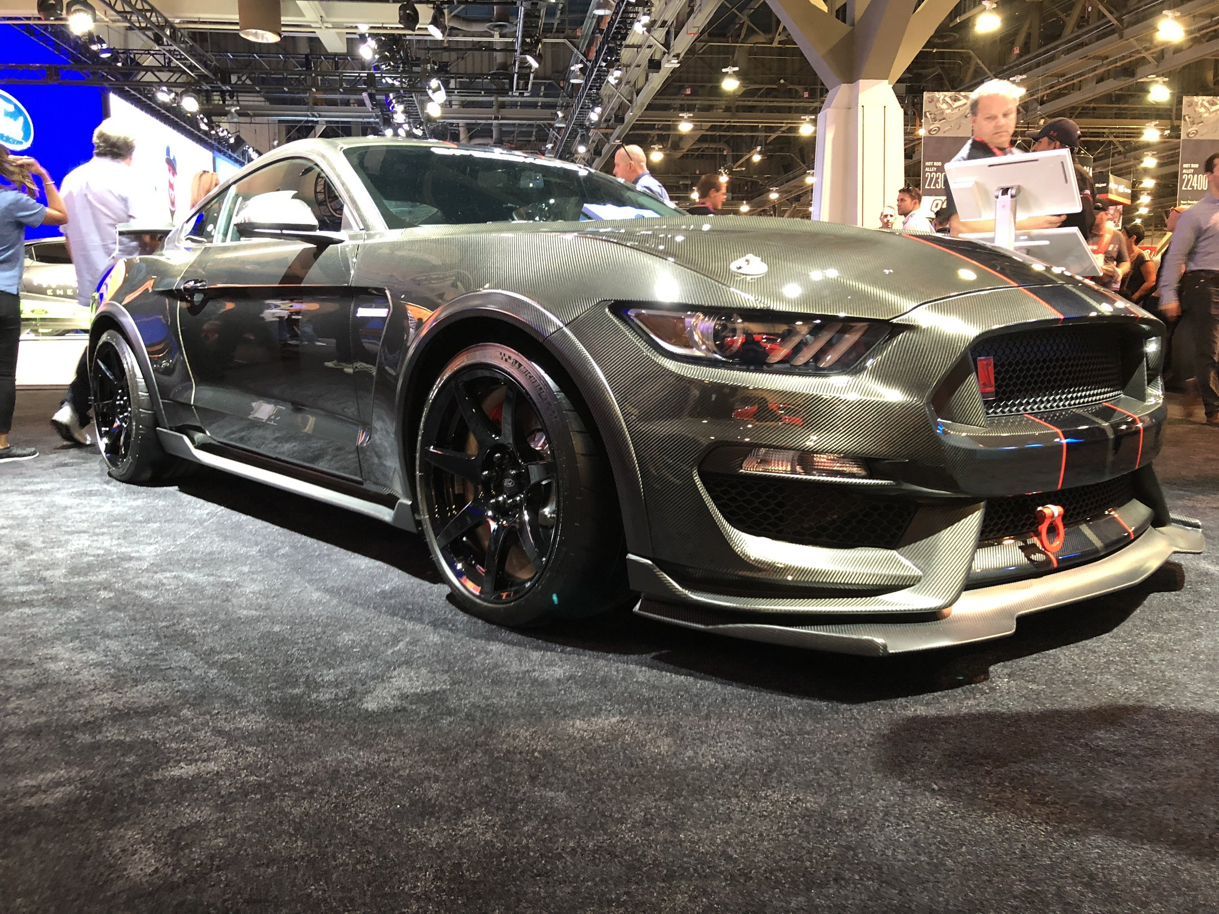 Ford had this beauty on display in their booth and for good reason! SpeedKore (a manufacturer of carbon fiber parts) outfitted this GT350 with a complete carbon fiber body. This isn't something you see every day so it earned a spot on our Top 5 list.