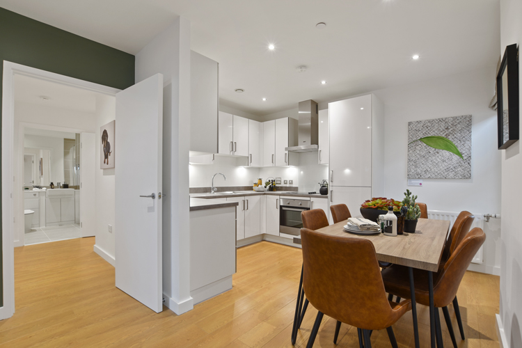 You're the head chef in your Manhattan sleek white kitchen with a full range of appliances, which include an integrated oven, four-zone ceramic hob and hood and integrated dishwasher. Plus your washer dryer conveniently located in one of the large hallway cupboards.