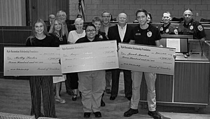 (pictured) The 2018 Sergeant Kyle Kucauskas Foundation Scholarship was presented to (front row,l to r) Molly Sarles,Ingrid Ochoa and Jacob Martin. Members of the scholarship committee are Marcia Jowers, Murphy Police Lt. Adana Barber and former council member John Daugherty. Sgt. Kucauskas' parents Vicki and Clint Averitte and Detective Sarah As