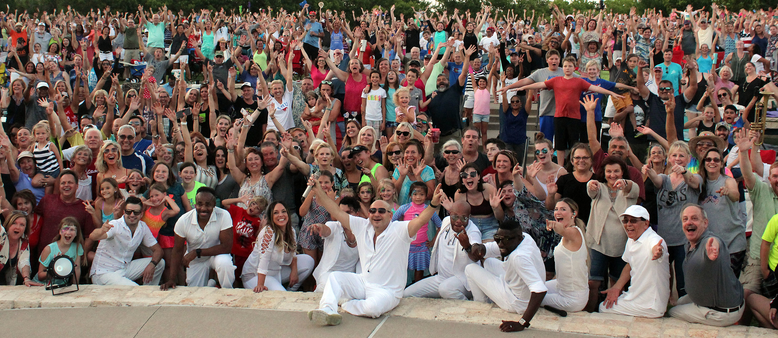 Emerald City Band 'selfie' with concert goers at Murphy amphitheater.