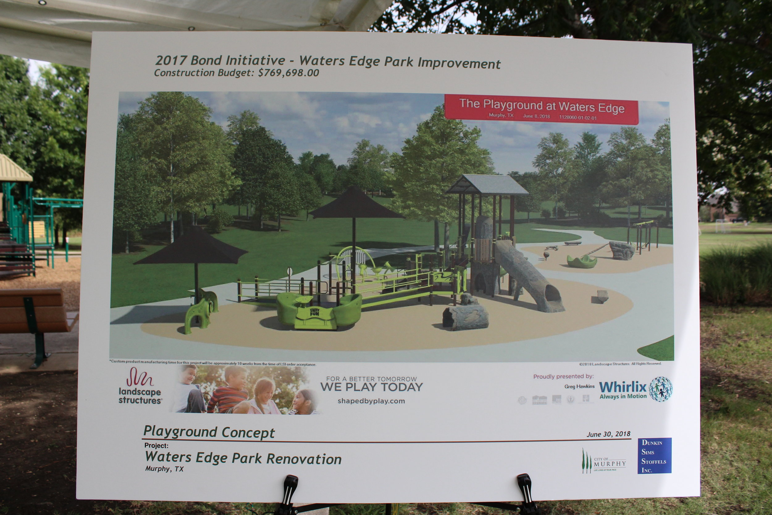 A playground concept for Waters Edge Park presented at the public outreach meeting.