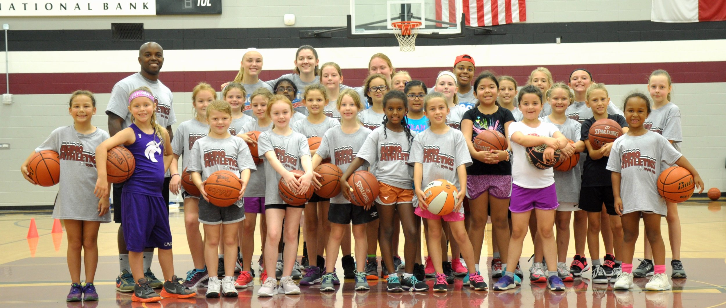 Campers get ready to learn more about the game of basketball