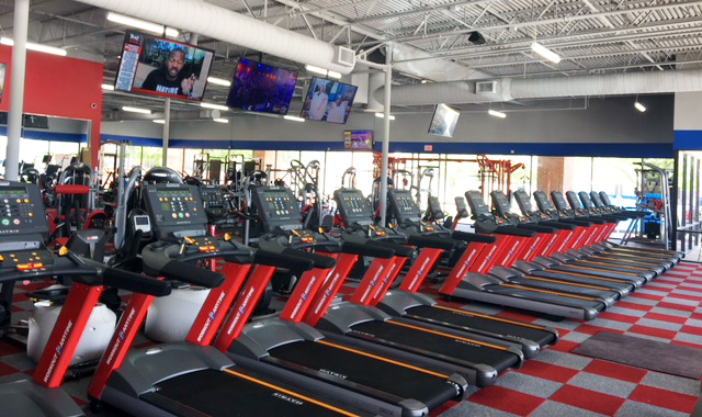 There are over 40 pieces of cardio equipment (treadmills, elliptical, stair climbers and stationary bikes) and over a hundred pieces of strength equipment.