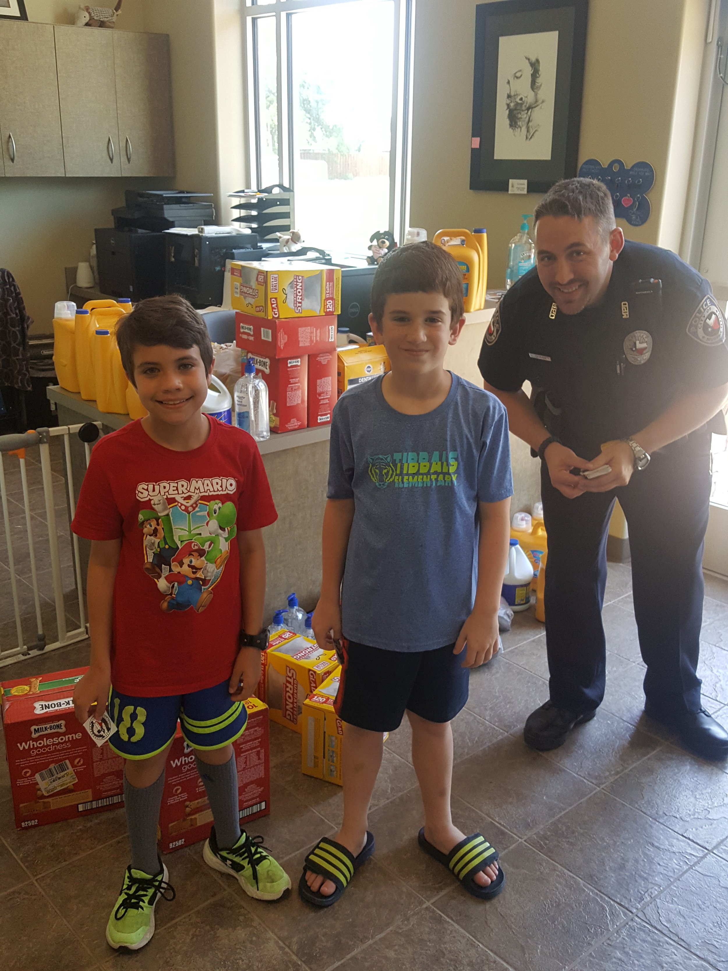 Landon Phillips and Elijah Crenshaw purchased dog and cat supplies at PetSmart then delivered them to the Murphy Animal Shelter with help from one of our Murphy Police Officers.
