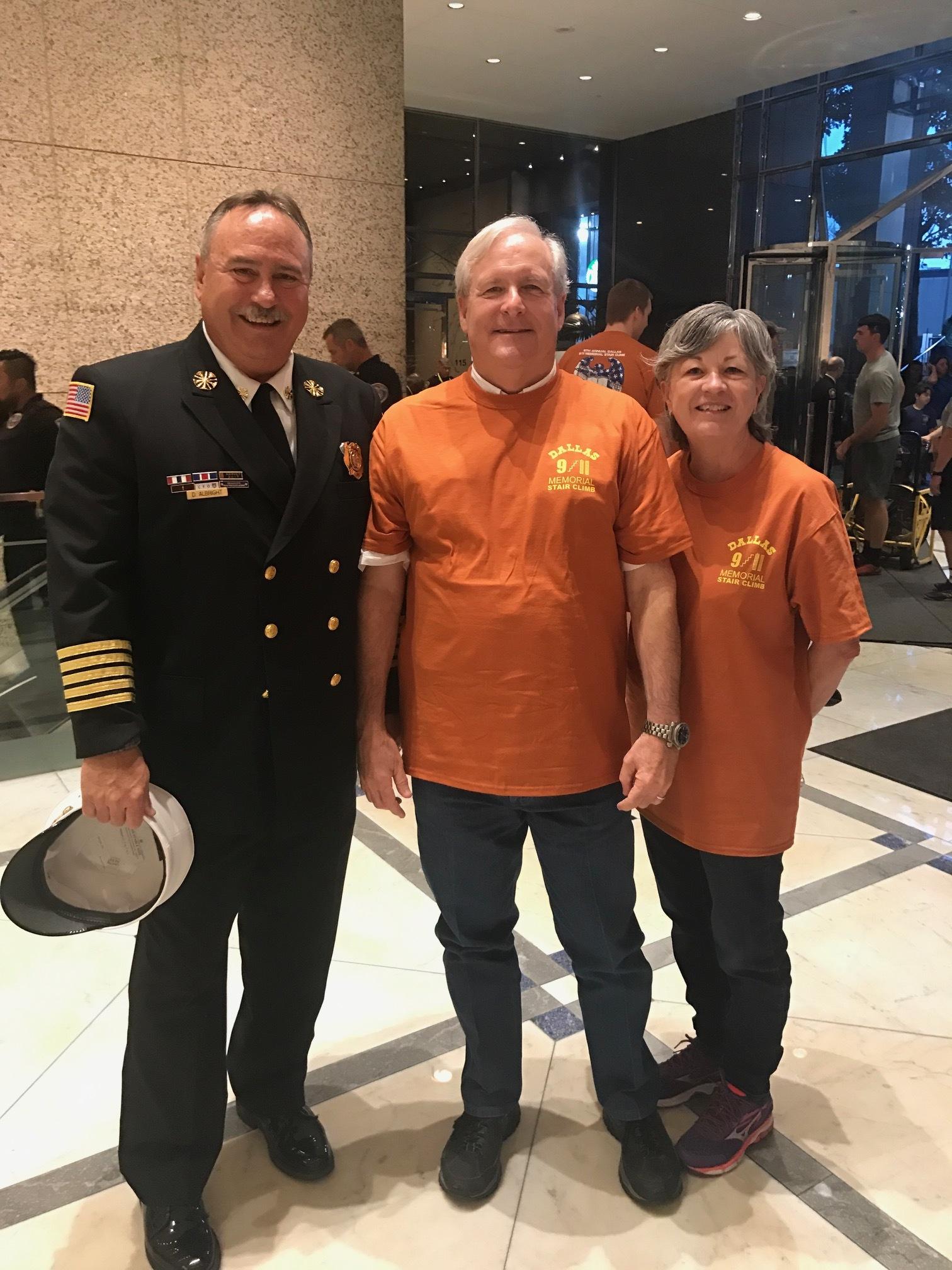 Murphy Fire Chief Del Albright, council member and CERT member Don Reilly and CERT member Maria Reilly.