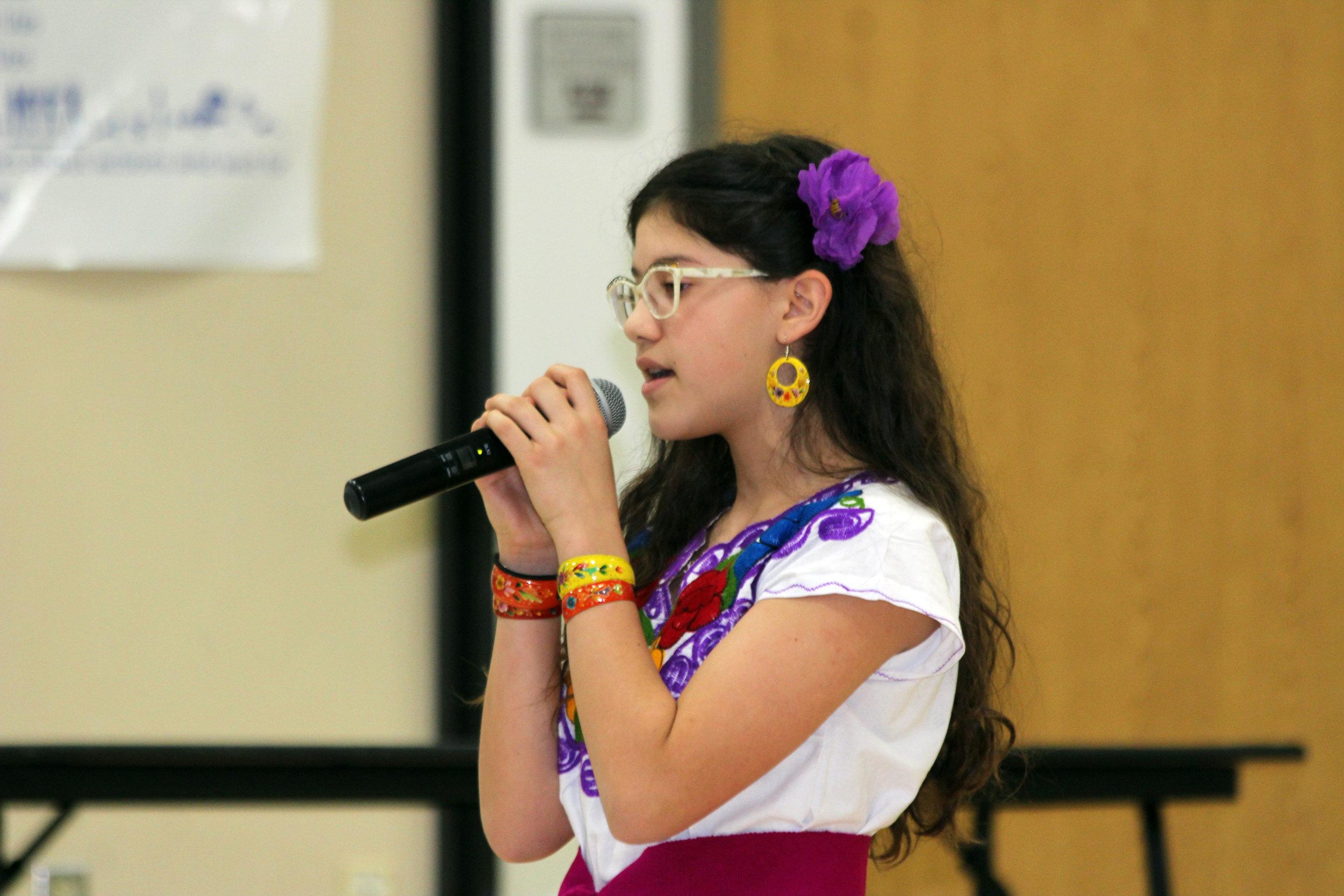 Boggess alumna, Sophia Rueda, sang a song in Spanish.