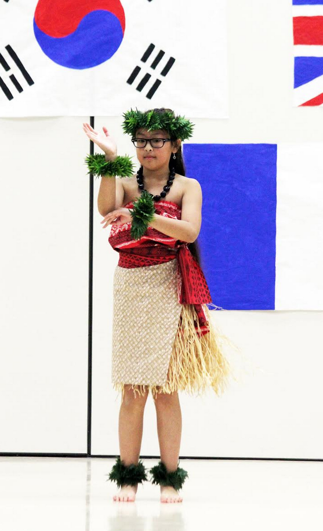 Charline Mesa, Boggess fourth grader, performed with other hula dancers.