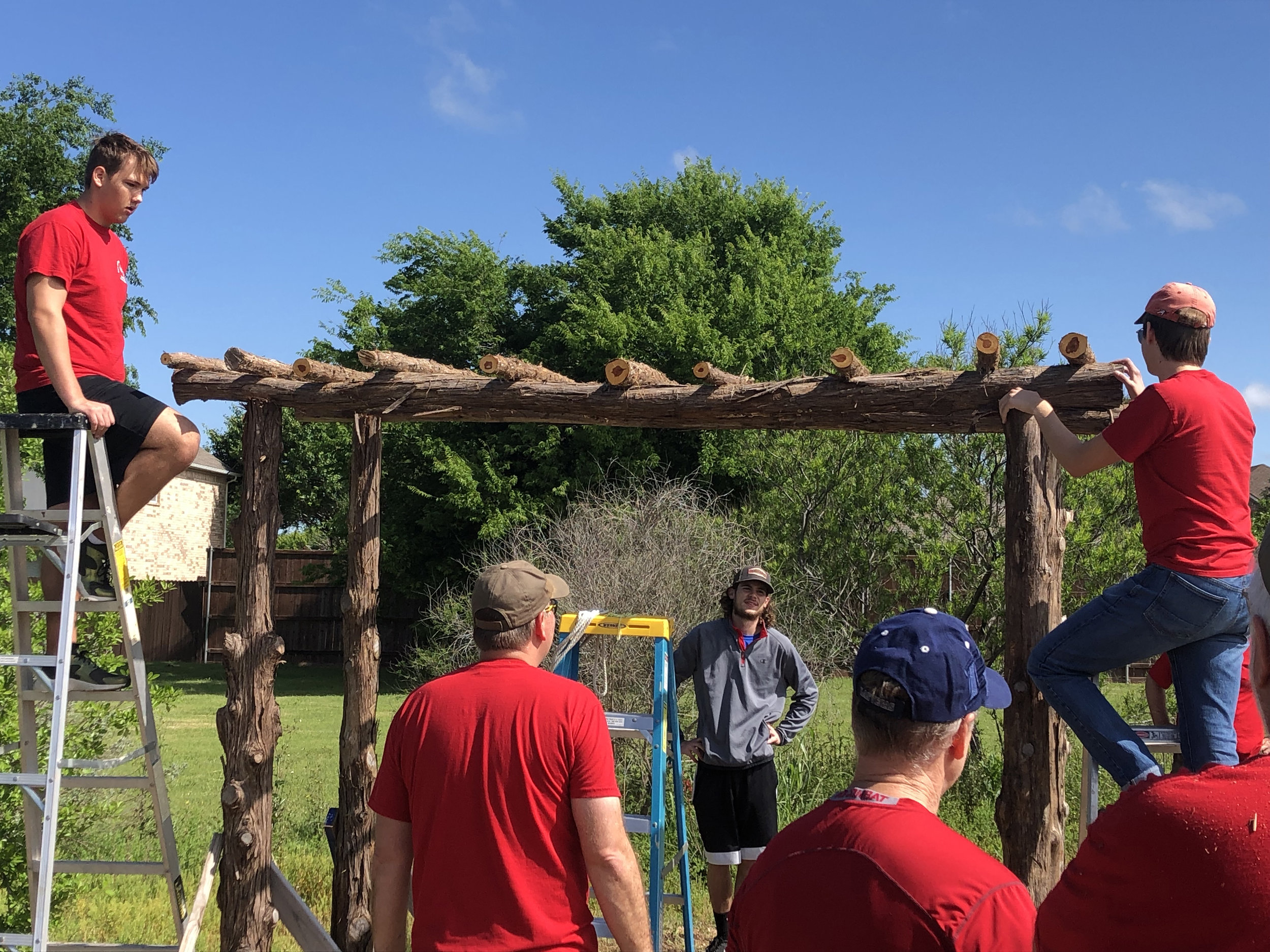 Dylan Spriggs worked on the arbor with members of Troop 295.