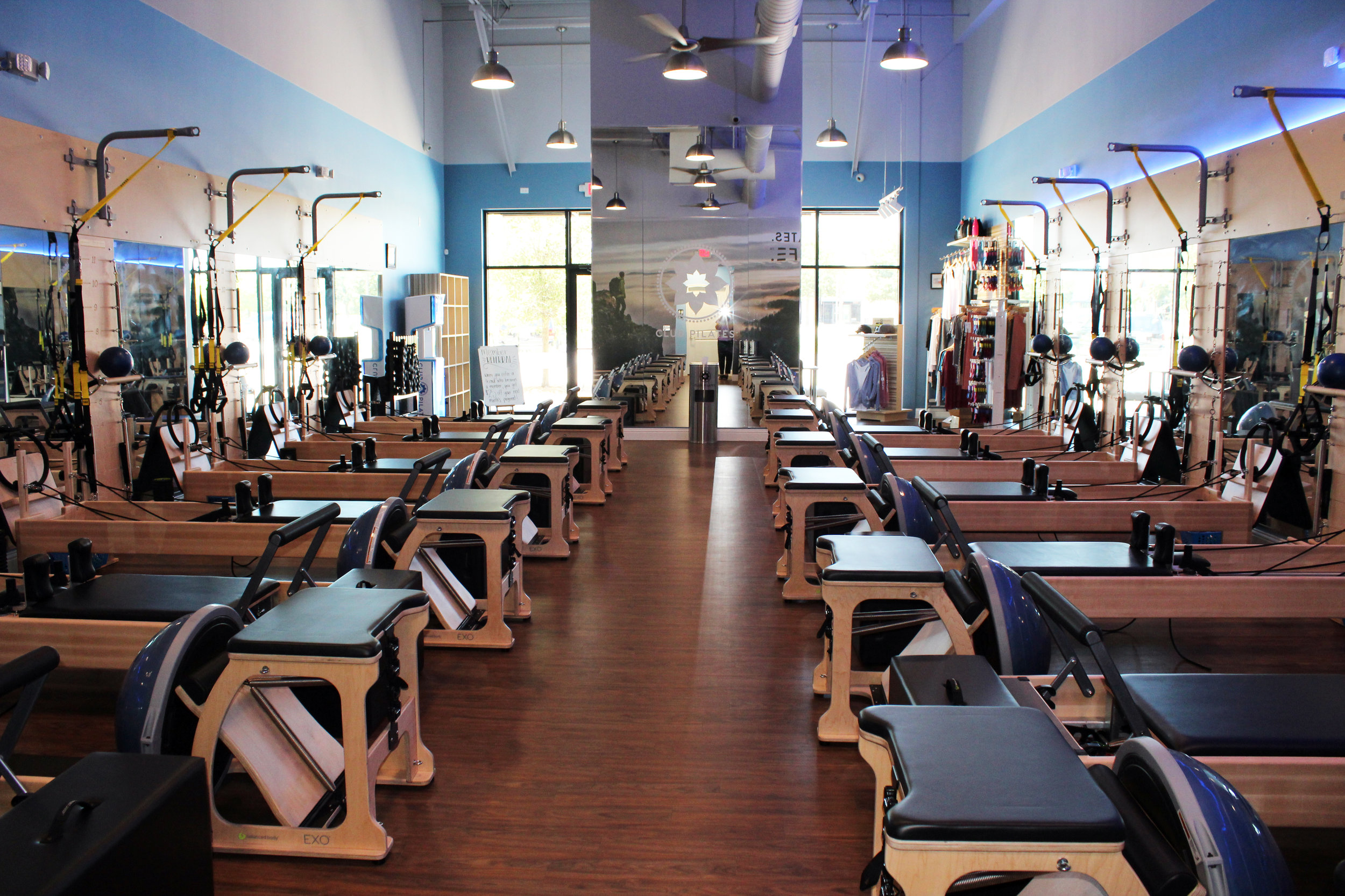 At each of the 12 workout stations, there is a reformer (main piece of equipment), springboard, mat, BOSU ball, EXO chair, TRX straps, foam roller and a variety of other exercise equipment.