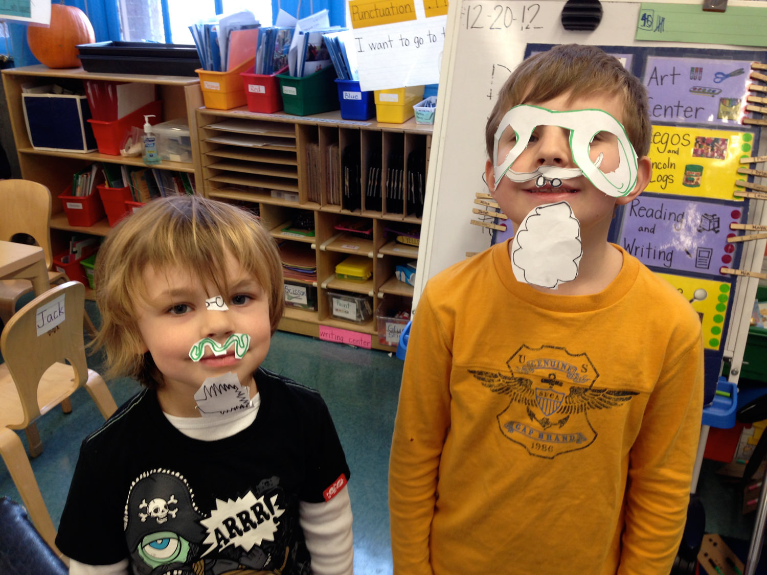 I was an elementary teacher for five years. I've always found kids to be absolutely hilarious. It was always hard for me to put on a stern face when they were misbehaving in a funny way. So sometimes I just let things go, like the month they started gluing mustaches to their face during playtime. That's a really creative way to use the art center!