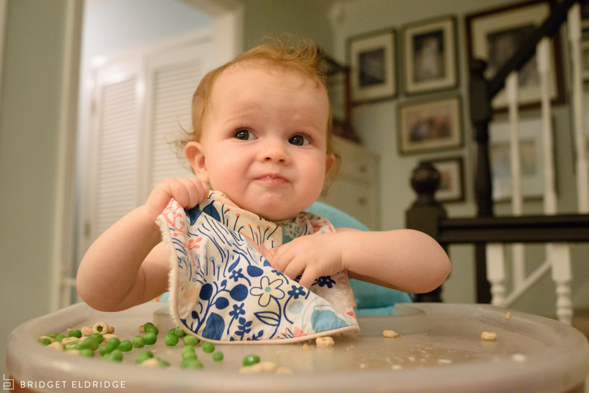 one year old eats peas