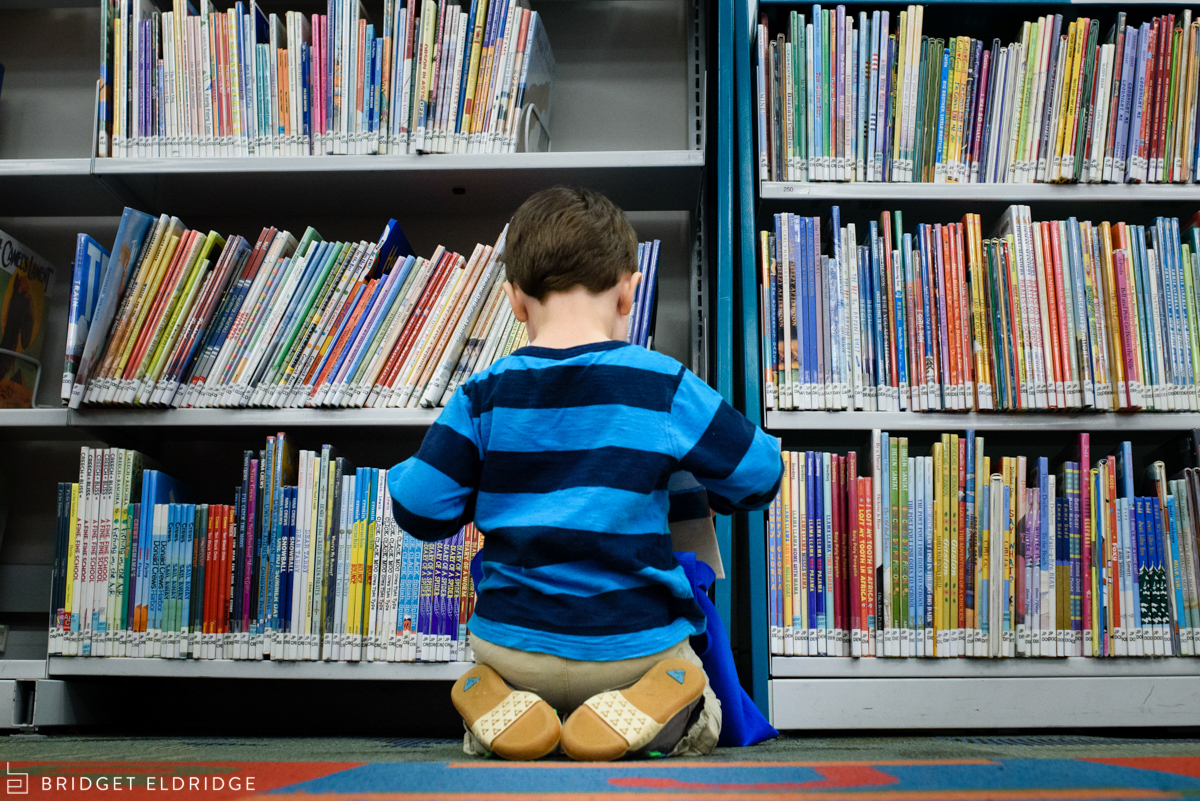 boy visits the children's section at Patrick Henry Library in Vienna, VA