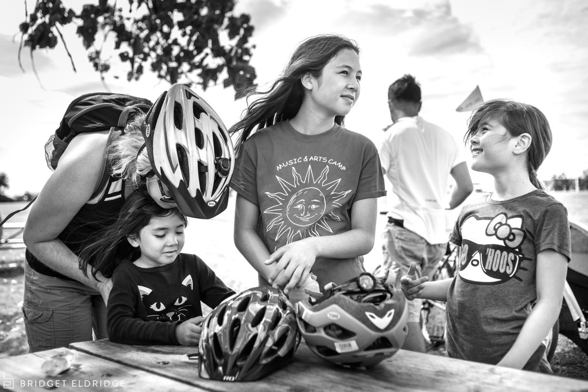 family prepares to continue bike ride in washington dc