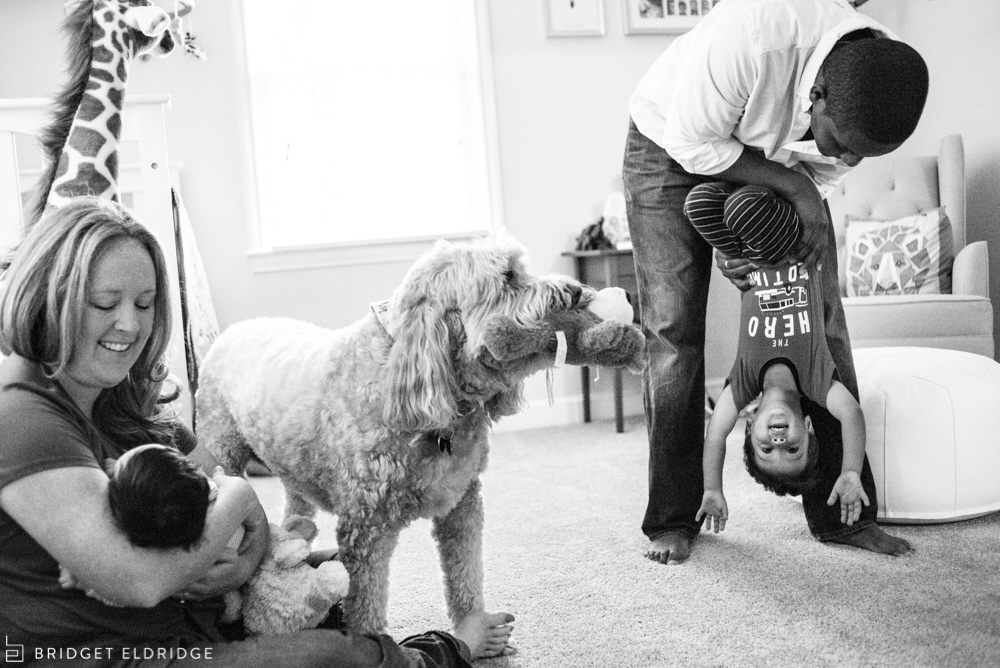 family goofs around at home in bethesda, md