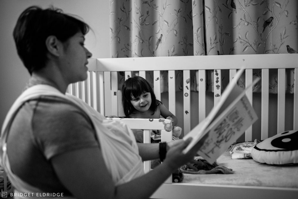 mom reads a story before nap time