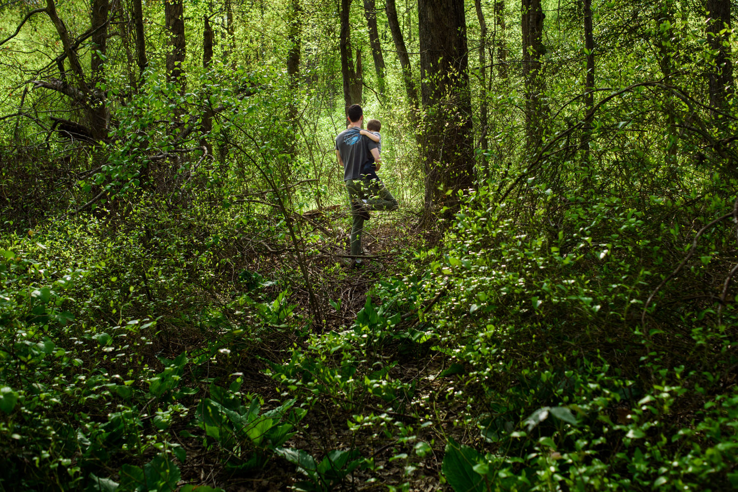 dad walks in the woods with his son