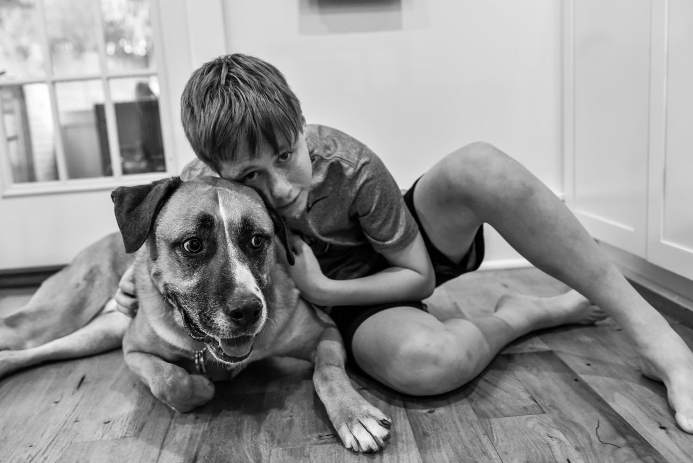 portrait of an arlington va boy and his dog
