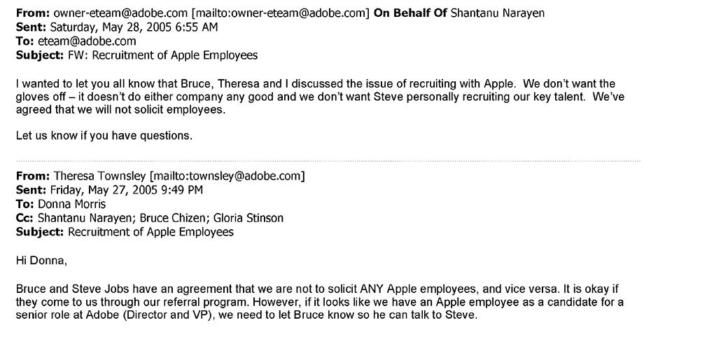 Adobe email regarding Apple recruiting