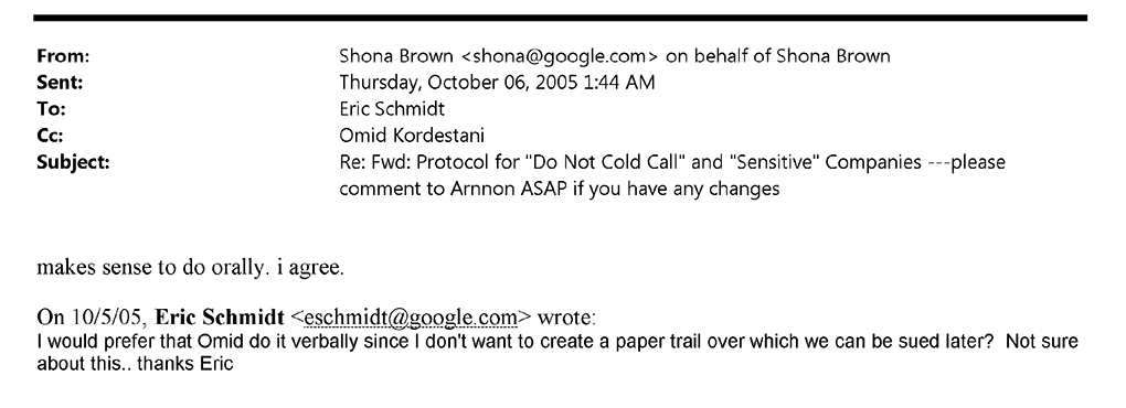 Google email regarding leaving a paper trail