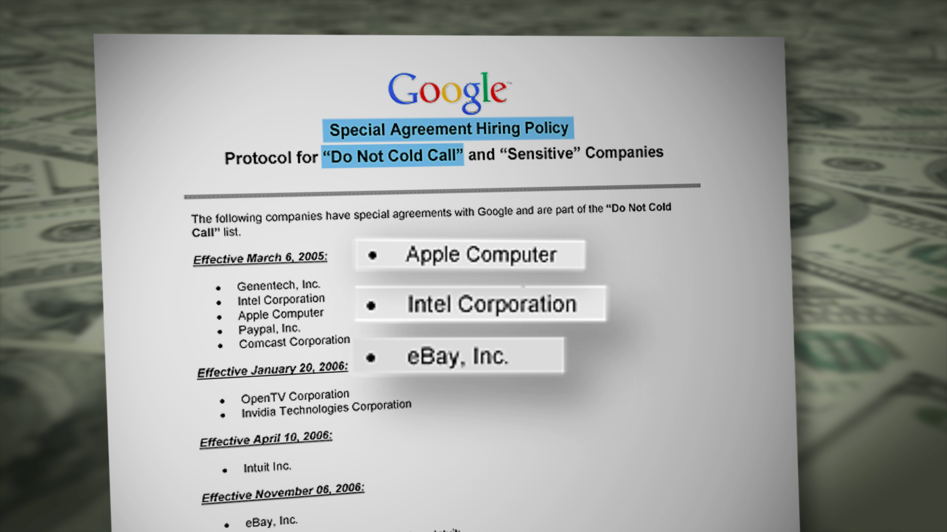 Google document revealing their Do Not Cold Call practices
