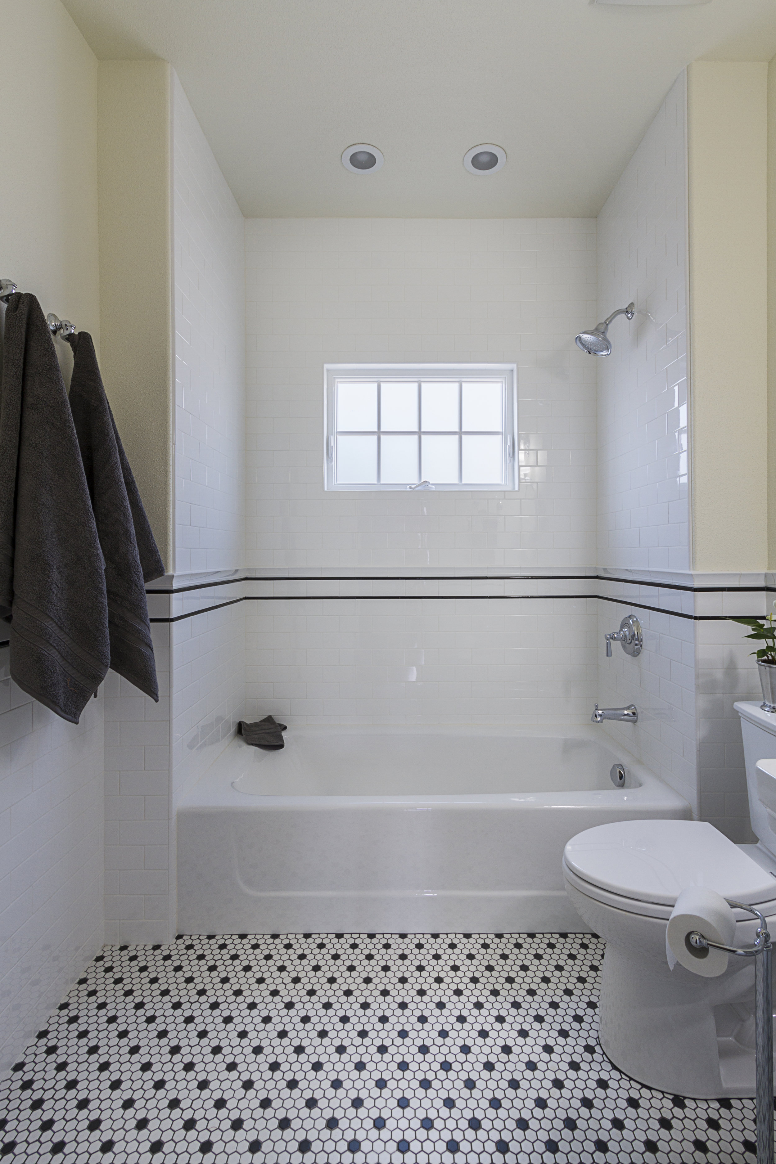 The Guest Bathroom was re-configured within the existing space.