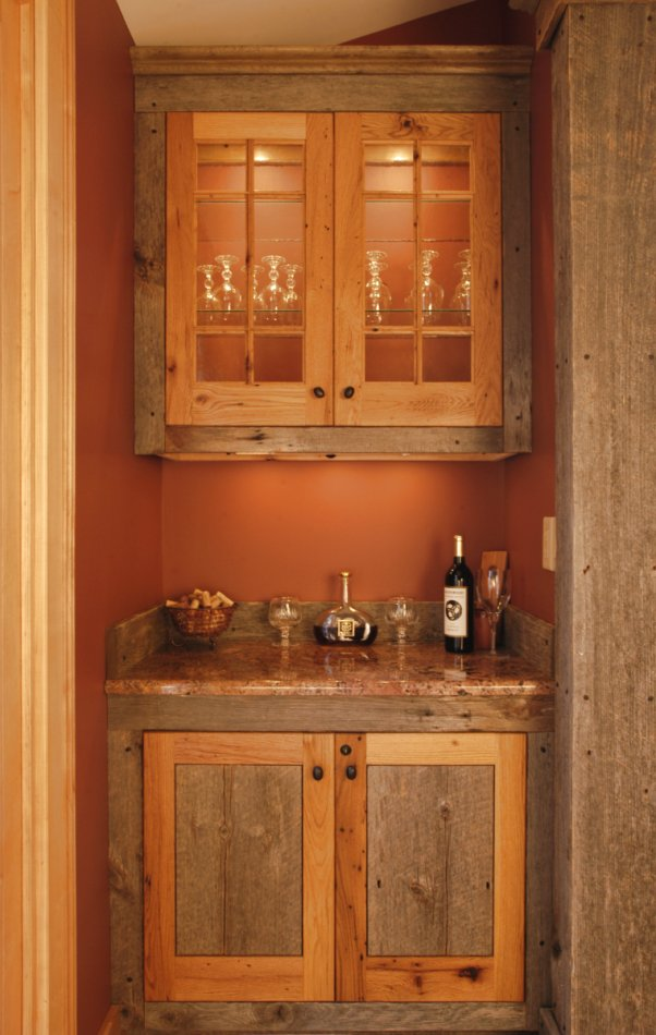 Detail of dry bar, built with barn boards
