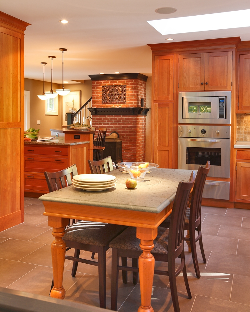 View of Breakfast area, looking back toward the Kitchen. Cabinetry and dining table by Kitchens by Gedney, of Madison, CT