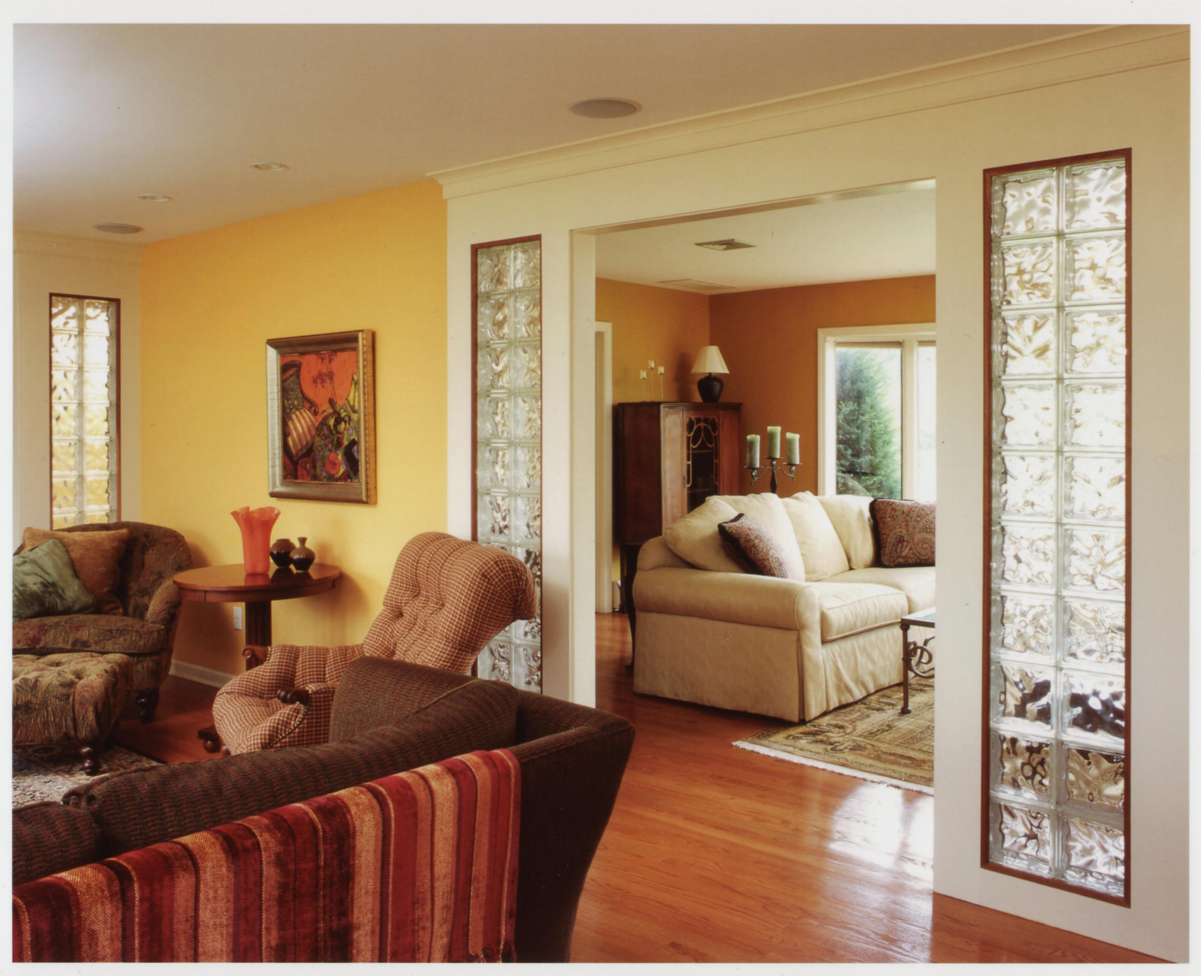 This living room combined a traditional aesthetic preference with a contemporary design and layout.