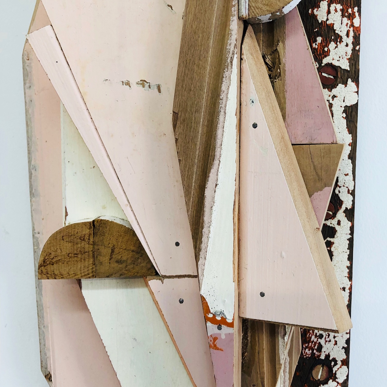 Detail of 'Pink BIts', 2019, salvage wood assemblage. Designed to be wall hung, Measures 60 x 18 x 8 cm. wastemedia