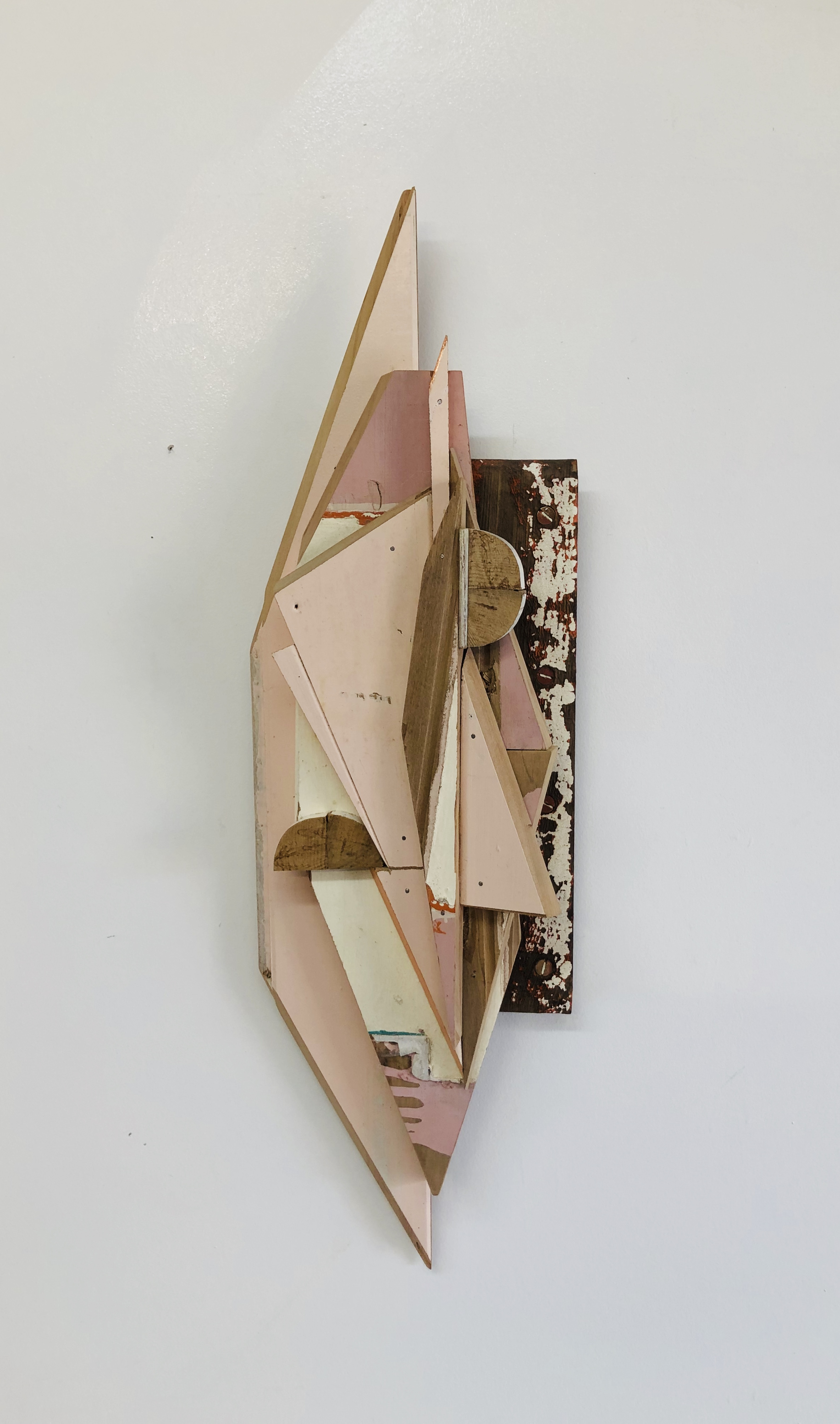 Pink Bits, salvaged timber, copper foil wall art. Measures 60 x 18 x 8 cm. Made for The Collaboration Spring Edition, 2019. wastemedia
