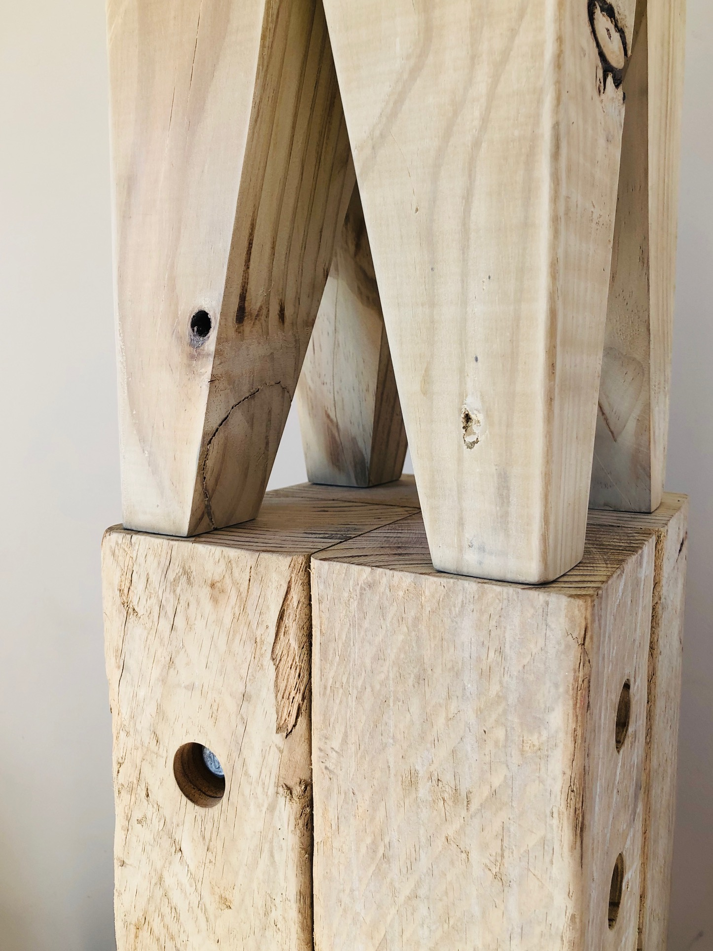 Detail wastemedia Block Stools, Papa and Piccolo, 2019. Made from salvaged treated timber and galvanised screws.