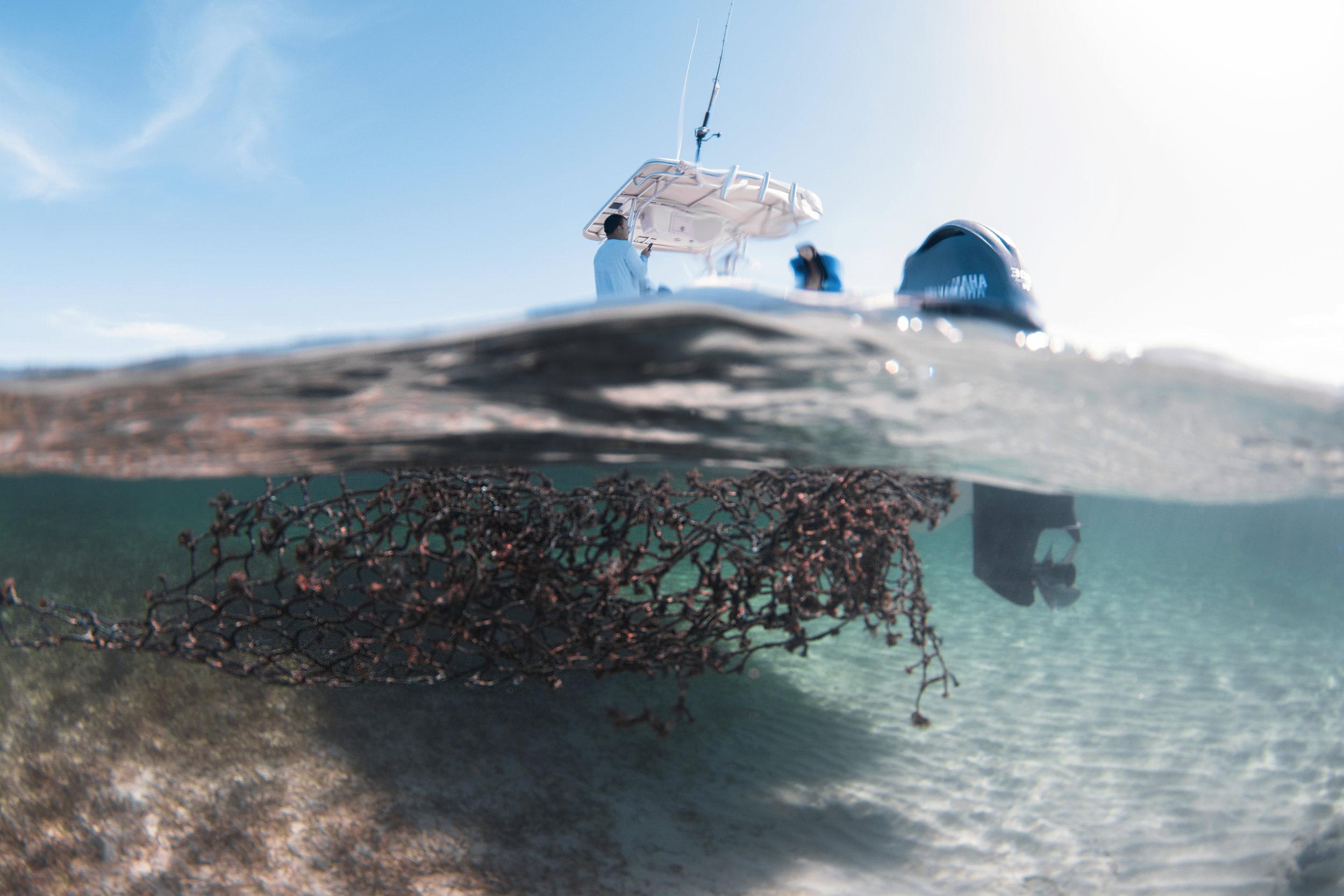 A ghost net the team retrieved from the ocean