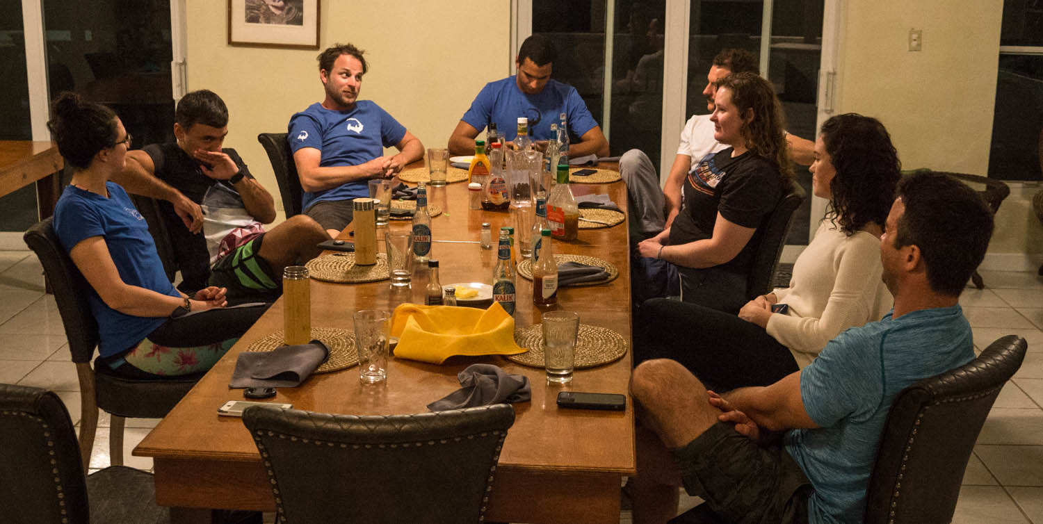 The expedition team relax and talk all things shark after an exciting day on the water!