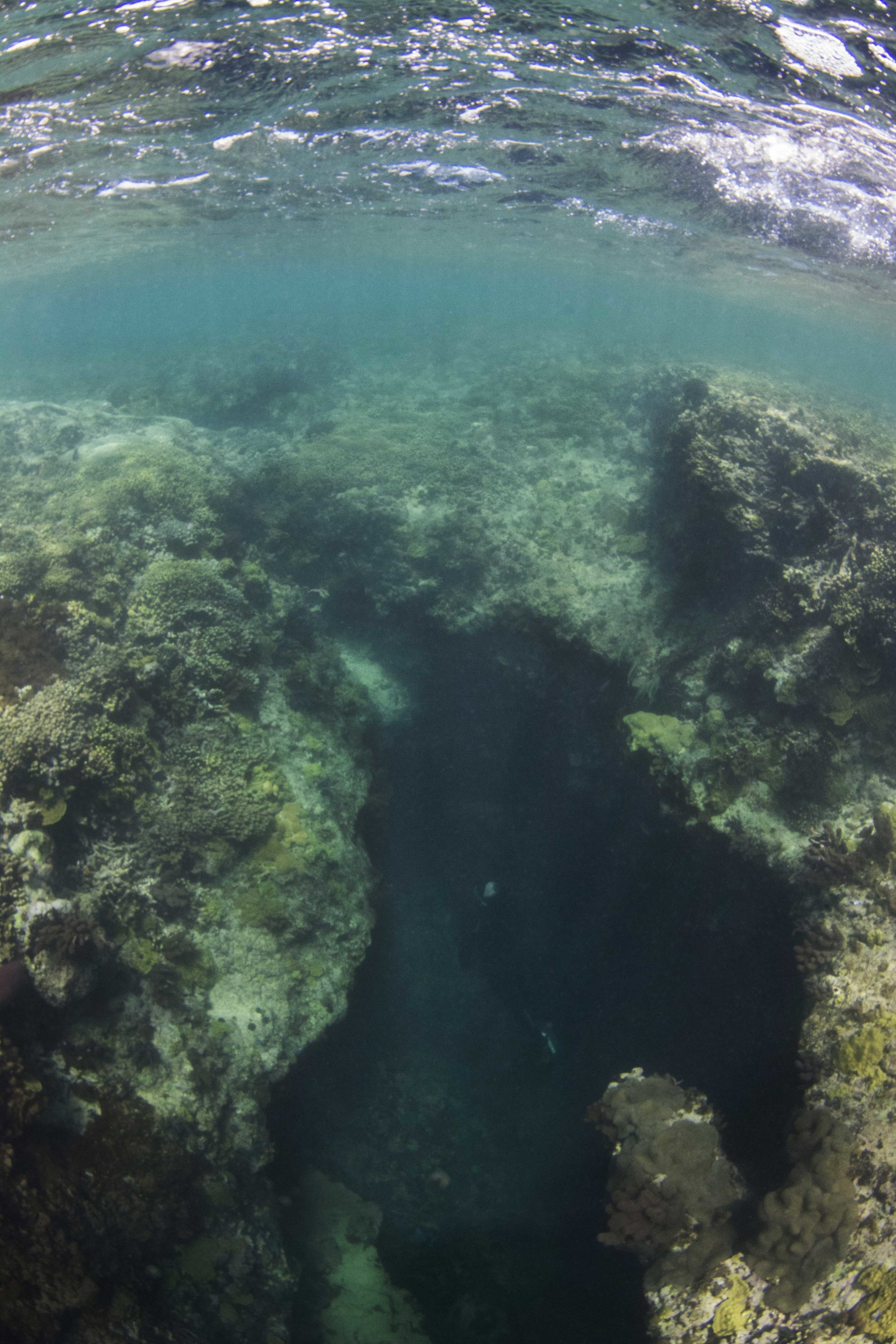 The same blue hole from beneath