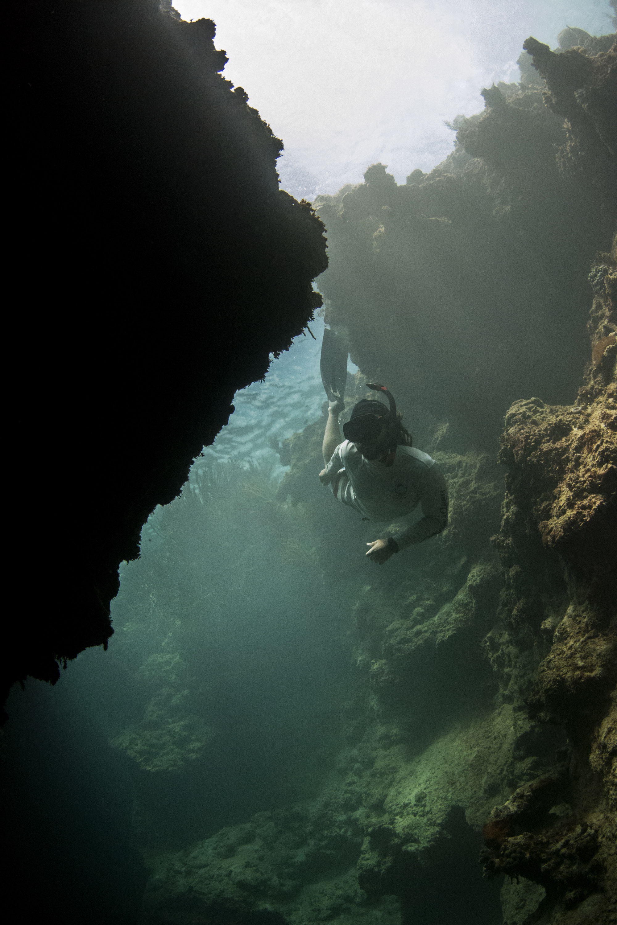 Freediving one of Andros's many blue holes