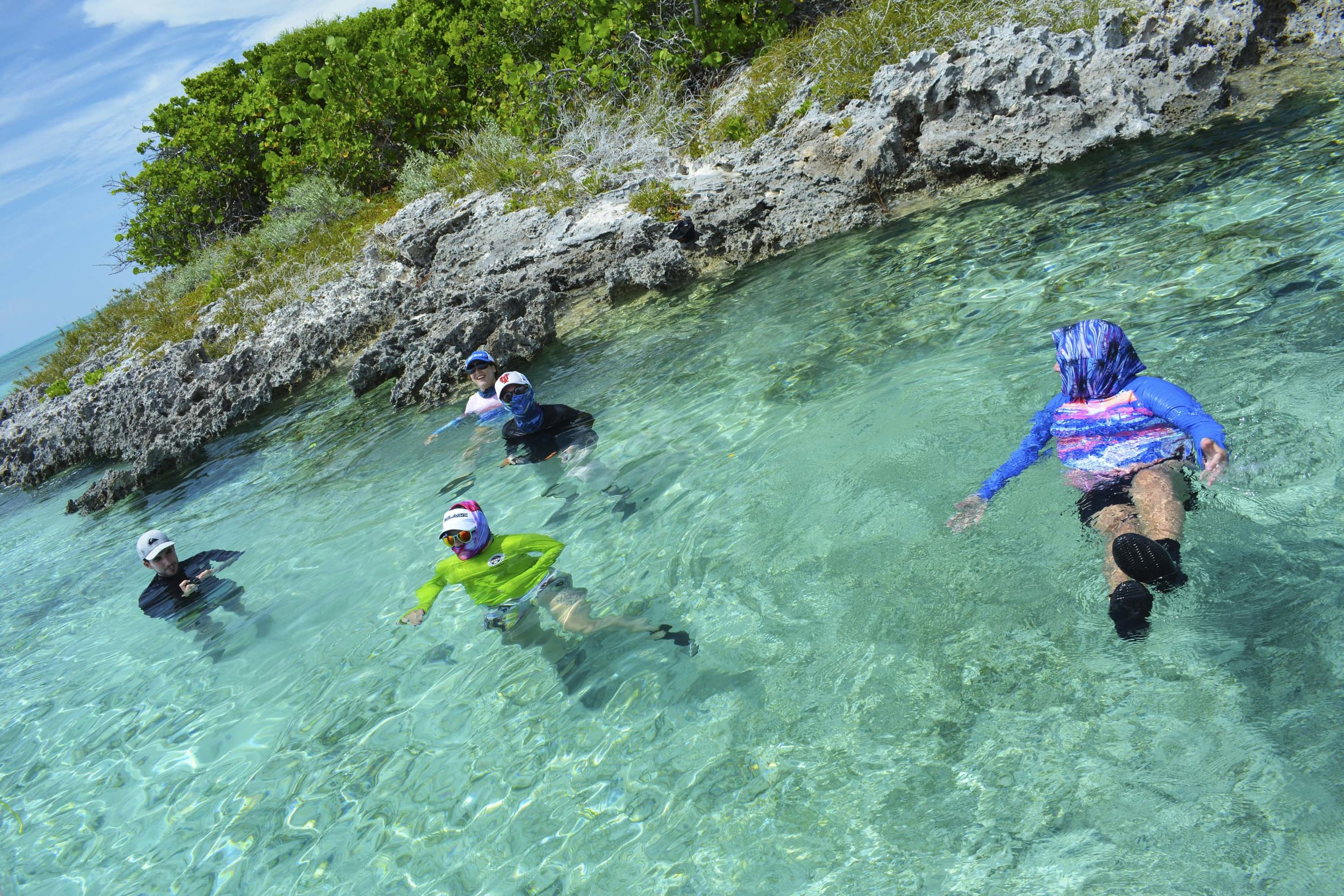 Guests cool off in the warm Bahamian blues