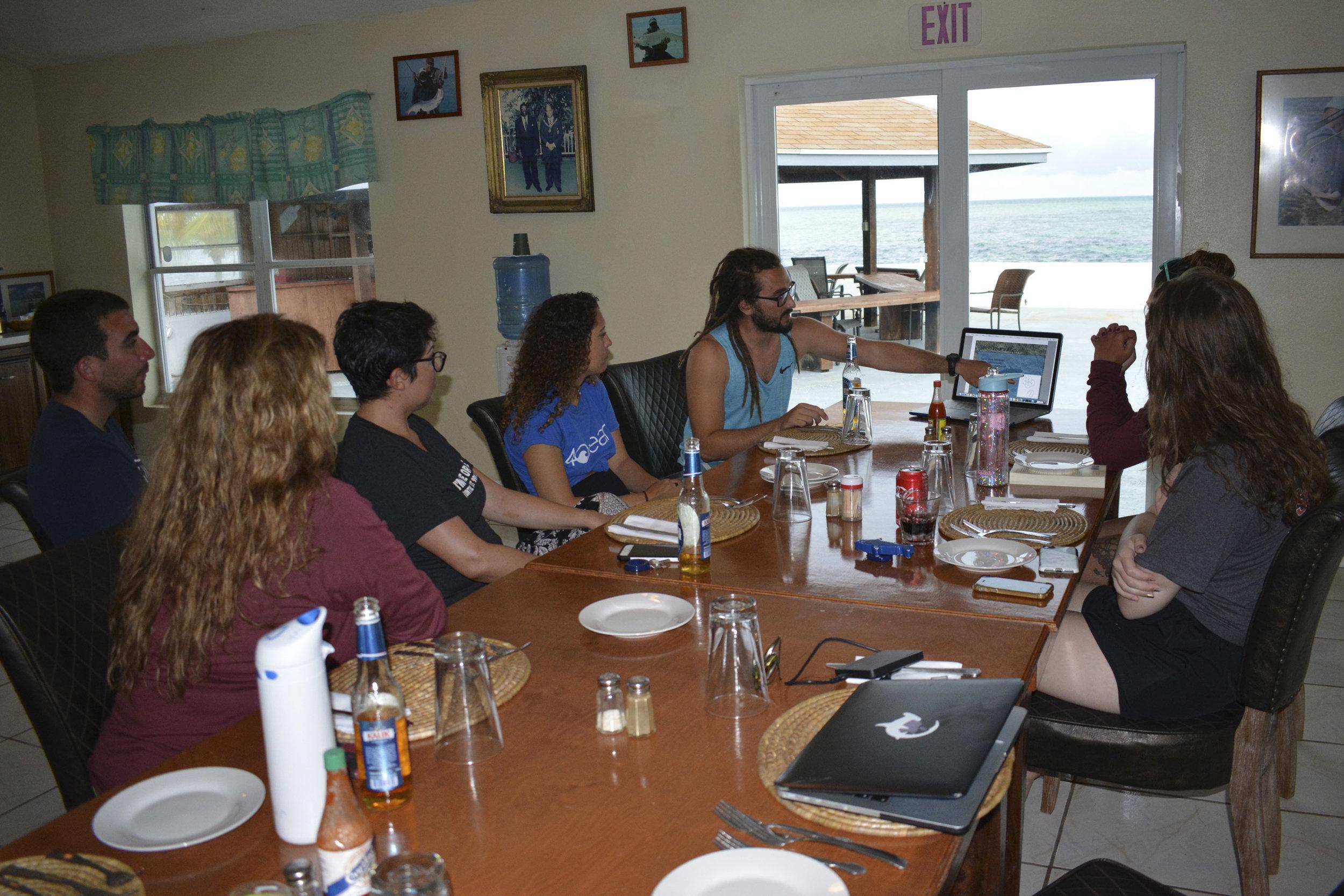 An evening lecture on shark social behavior