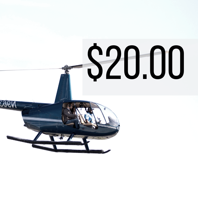 2 Miles - $20.00 (+ taxes and fees)   A great first experience of flight for anyone of any age!  Depart from Lakefront airport and take in Lake Pontchartrain and the South Shore Marina from the AIR!   *Prices are per ticket