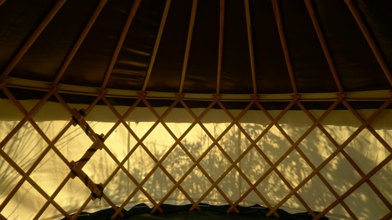 A trip to our yurt builder. An example structure - beautiful in its economy. Our's will be completely dark inside.
