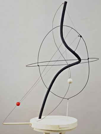 1. Alexander Calder, 'A universe', 1934. Painted iron pipe, steel wire, motor and wood with string. 102.9 x 76.2 cm